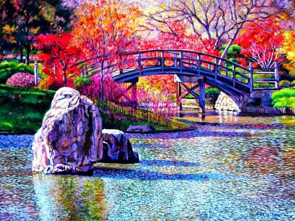Cuadros modernos pinturas y dibujos paisajes con puentes for Fotos para cuadros grandes