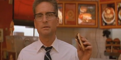 Foster holding a burger Falling Down 1993 Michael Douglas movieloversreviews.blogspot.com