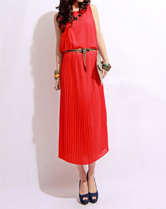 mazzy side cutout dress. Pleated Long Dress