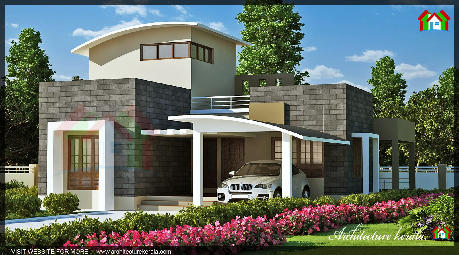 1600 square feet house elevation architecture kerala for 1600 square foot house