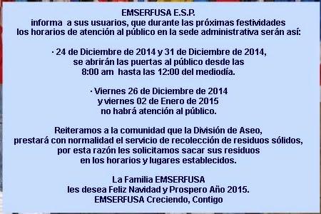 FUSAGASUGÁ: EMSERFUSA - HORARIOS DE ATENCIÓN AL PÚBLICO DURANTE ESTAS FESTIVIDADES