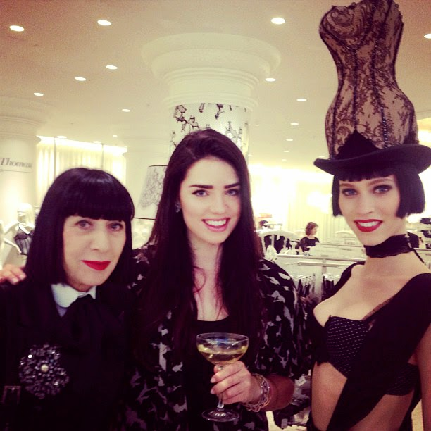 London fashion blogger Emma Louise Layla and French lingerie designer Chantal Thomass in Fenwick's, New Bond Street