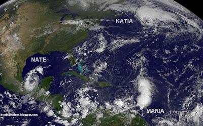 Satellitenfoto: Wo befinden sich KATIA, MARIA und NATE heute Morgen und wie sehen sie aus?, Katia, Maria, Nate, Satellitenbild Satellitenbilder, aktuell, Atlantik, Golf von Mexiko, Dominikanische Republik, September, 2011, Hurrikansaison 2011,