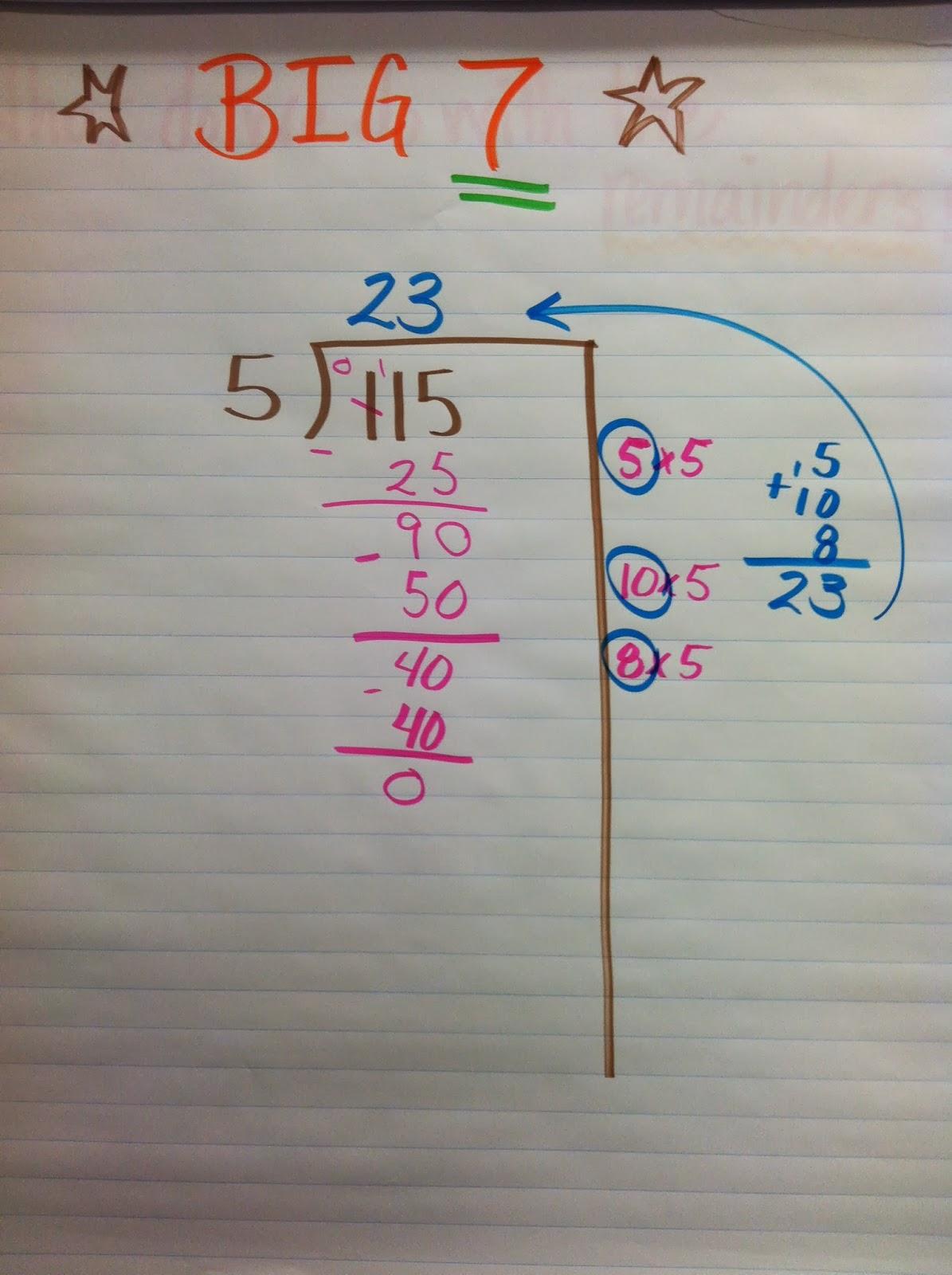 """Mrs. Kortlever, Room 9!: """"Big 7"""" Long Division Strategy"""