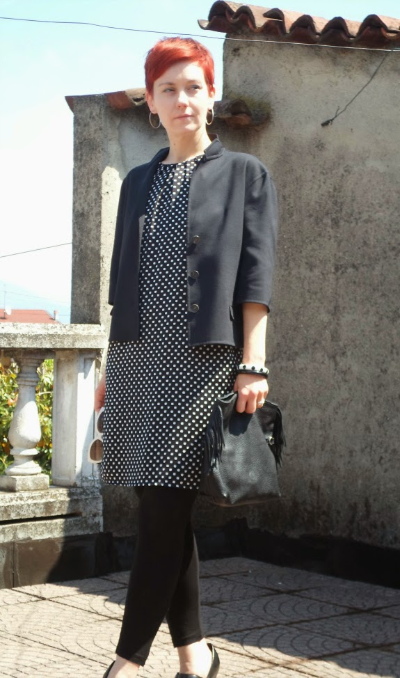 Black dress with white polka dots, thrifted Jil Sander cropped jacket, black leggings, fringe clutch    Funky Jungle, fashion and personal style blog
