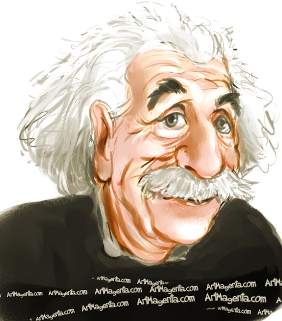 Albert Einstein caricature cartoon. Portrait drawing by caricaturist Artmagenta