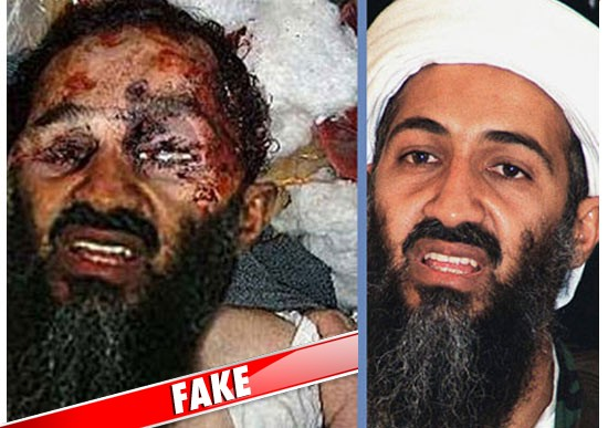 on the left is an ALTERED version of a famous photo of bin Laden