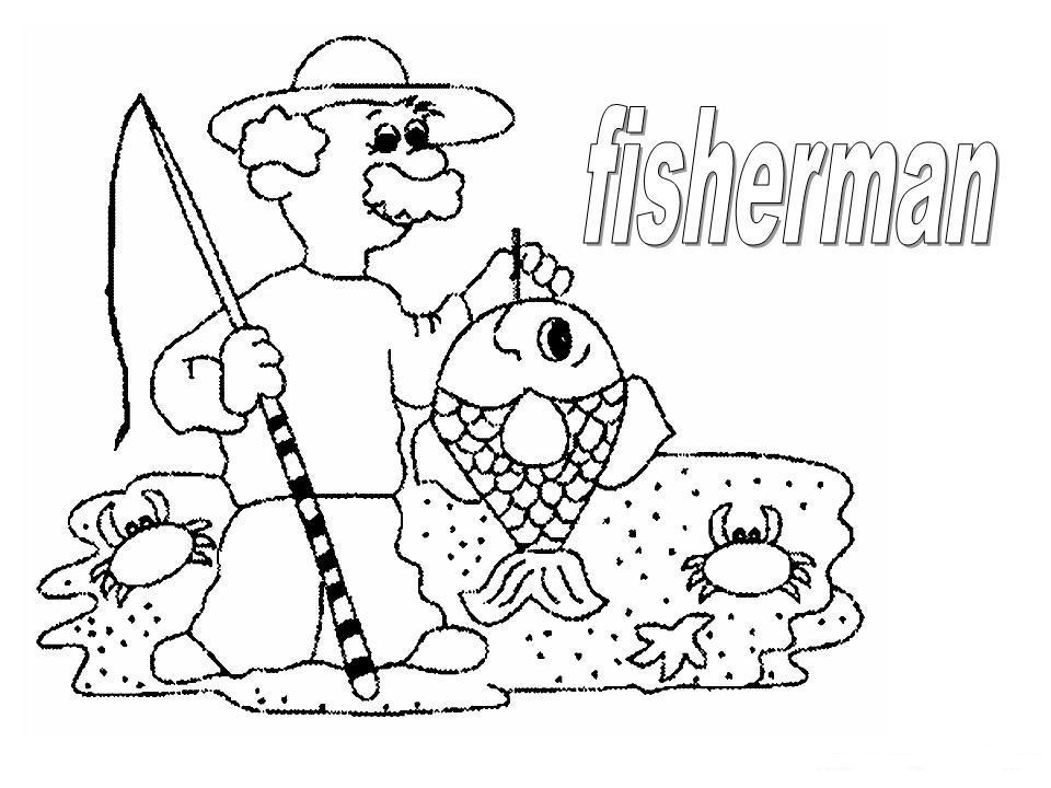 COLOREA TUS DIBUJOS: Dibujo de pescador para colorear