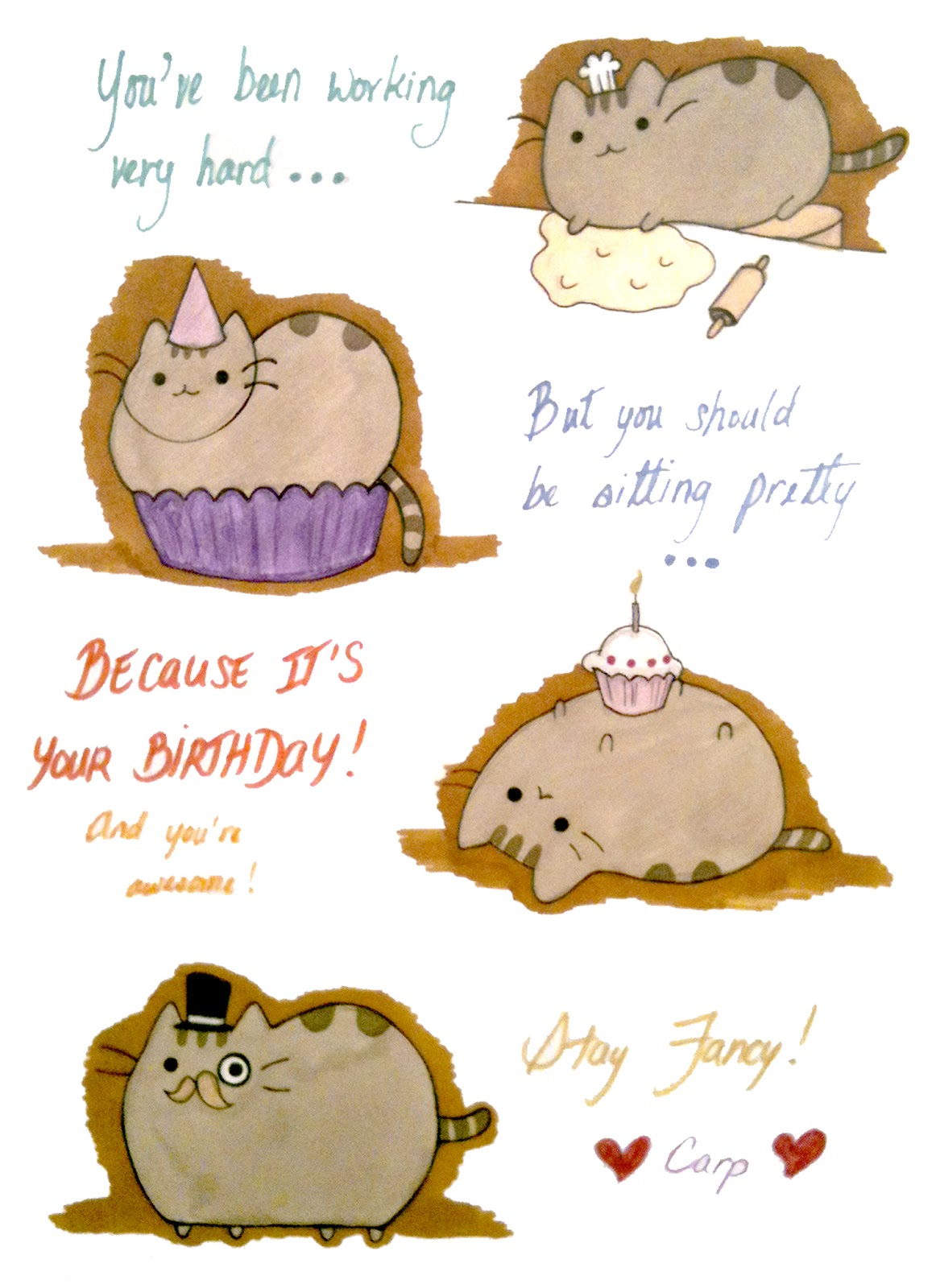 Pusheen Birthday Card | Pericynthion