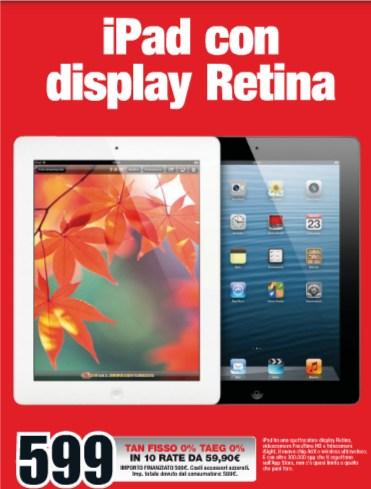 Mediaworld propone fino a maggio a tasso zero il tablet Apple iPad 4
