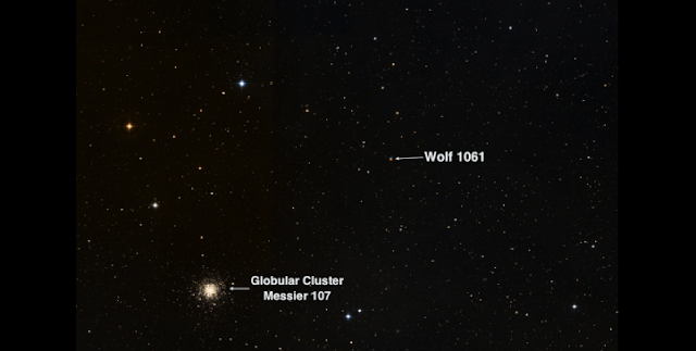 "The sky area in the constellation of Ophiucus near the red dwarf star Wolf 1061 which includes the impressive, but unrelated, star cluster Messier 104. Wolf 1061 is 14 light years away. Credit: UNSW/The ""Aladin sky atlas"" developed at CDS, Strasbourg Observatory, France"
