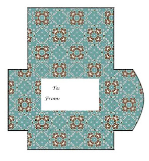 Blue and Brown Print and Cut Gift Card Envelope