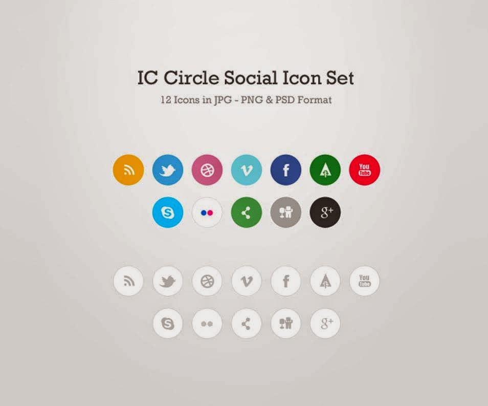 12 Circle Social Media Icons