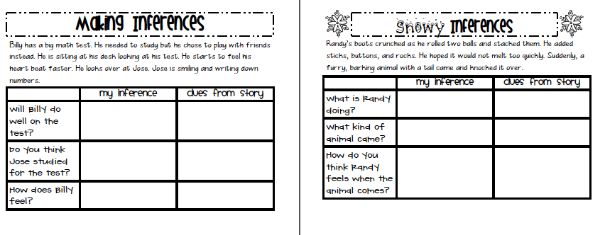 Sarah's First Grade Snippets: Inferring mini unit