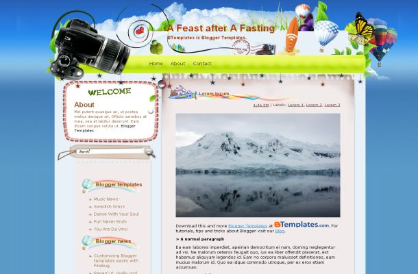 Free Blue Balloon Travel Blogger Theme Template' title=