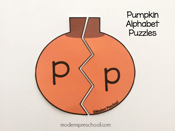 FREE printable pumpkin alphabet letter puzzles for preschool & kindergarten!