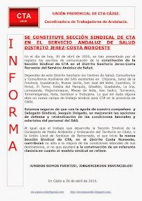 SE CONSTITUYE SECCIÓN SINDICAL DE CTA EN EL SERVICIO ANDALUZ DE SALUD DISTRITO JEREZ-COSTA NOROESTE