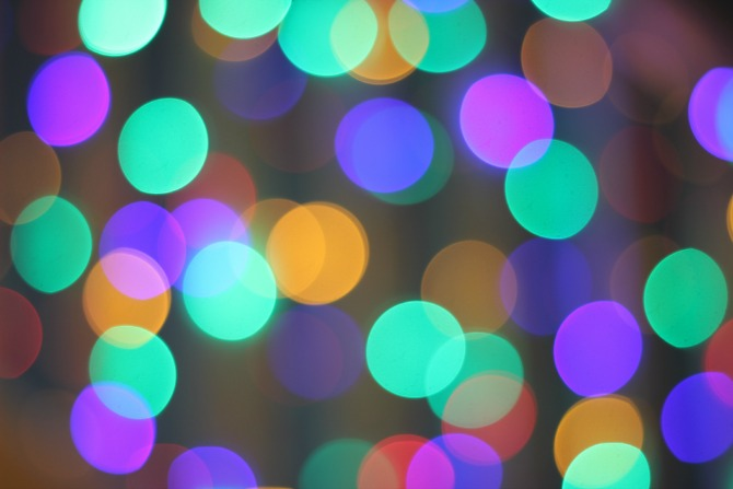Coloured Christmas tree bokeh, far away