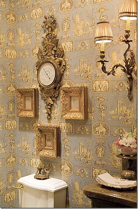 Ash tree cottage toile and buffalo checks in the bath for French country bathroom wallpaper