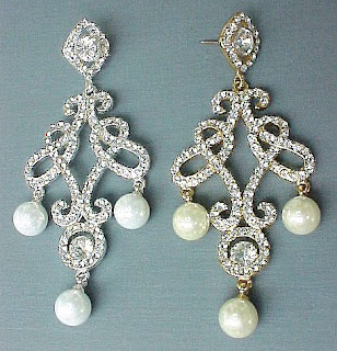 bridal earrings chandelier crystals