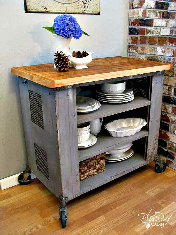 This time I made a Kitchen Island out of an Industrial Cart and old
