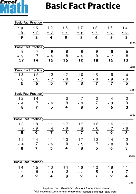 Printables Math Basic Facts Worksheets excel math five minute class warm up activities here are the answers to basic fact practice sheet shown above