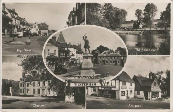black and white multi view of Westerham showing Green