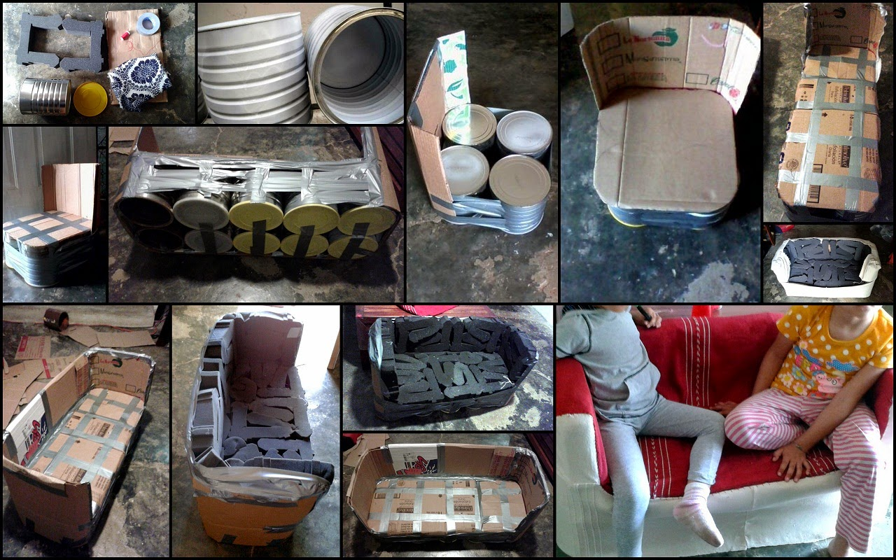 Decorar en crisis sofa infantil y taburetes con latas for Sofa reciclado