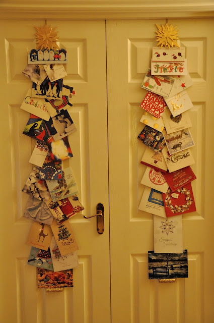 Christmas cards hanging