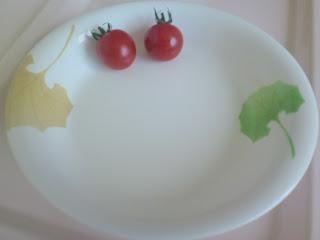 写真:今朝は食べなかったプチトマト2つ