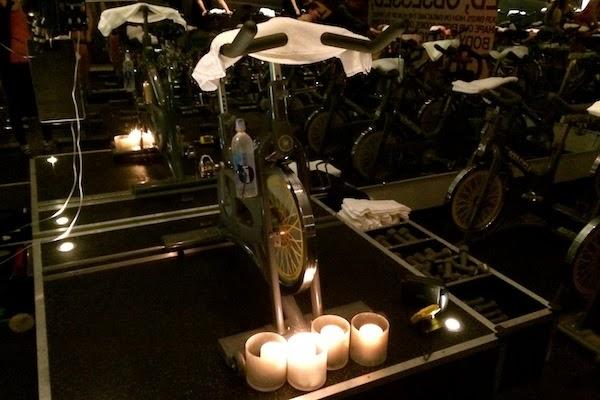 Candlelit SoulCycle studio
