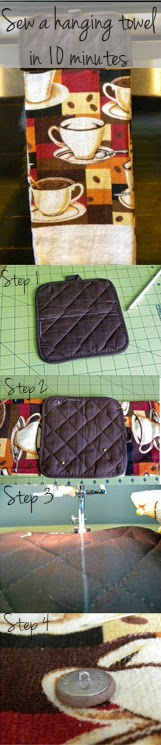 Sew a hanging towel in 10 minutes -- Easy beginniner sewing project