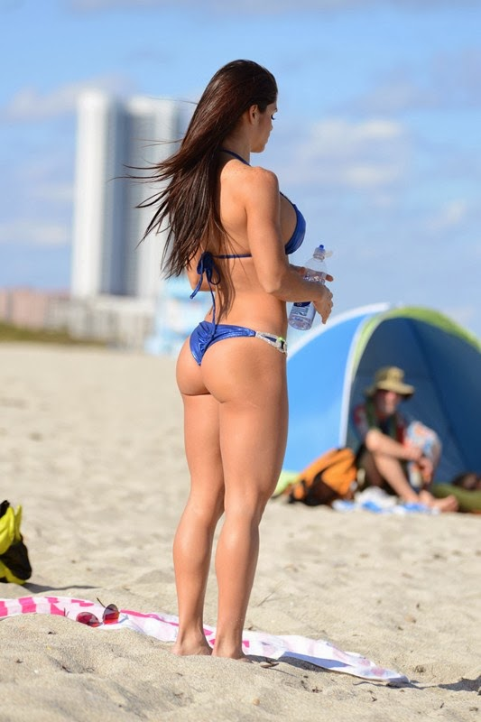 Fitness model Michelle Lewin blue bikini candids in Miami