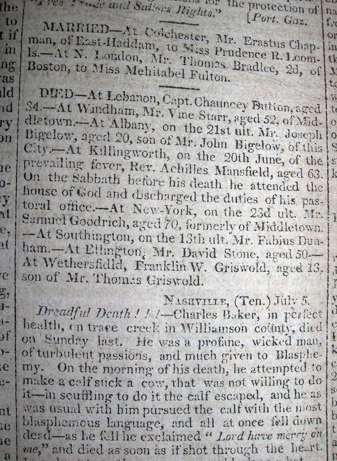 newspaper articles of the 1800s