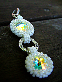 bead bezel Swarovski Rivoli Earrings
