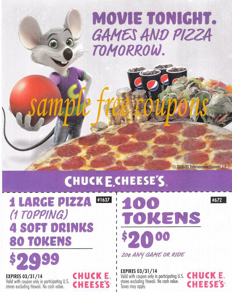 chuck e cheese coupons january 2014