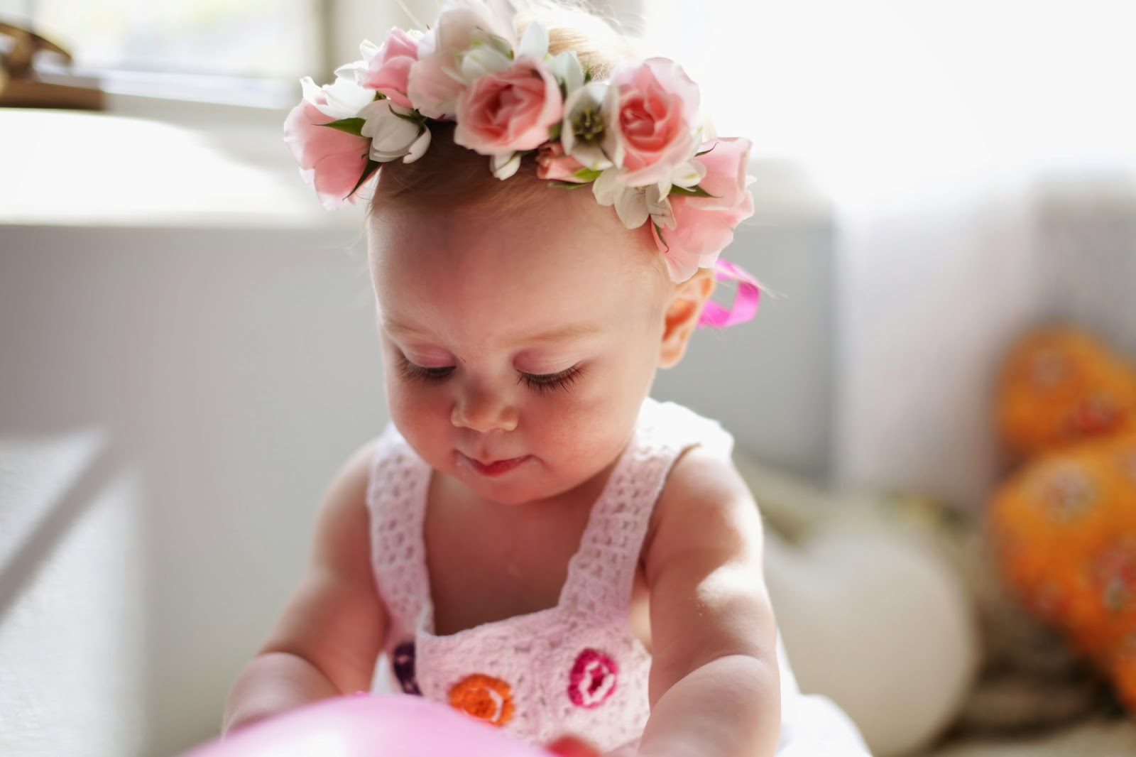 Lovelies in my life flowers in her hair this girl is almost one and this weekend we celebrated first with her very own tiny crown of fresh pink and white flowers izmirmasajfo