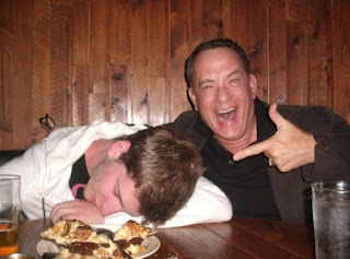 Tom Hanks with drunk kid, funny picture
