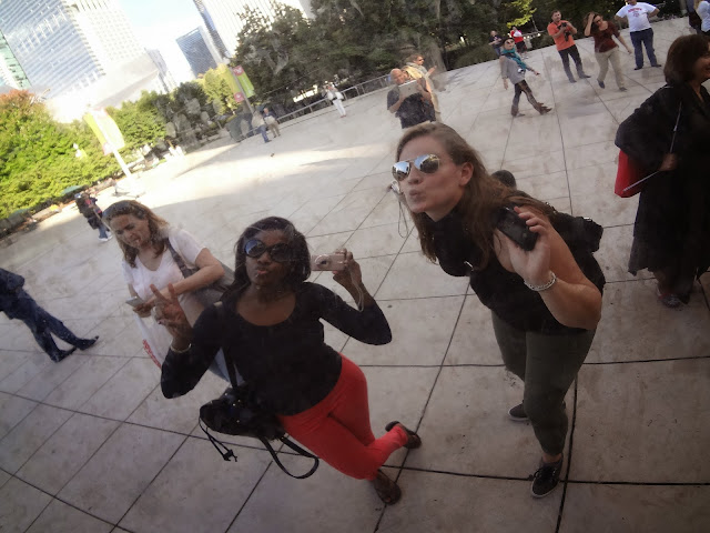 Taking selfies at Cloud Gate in Chicago.