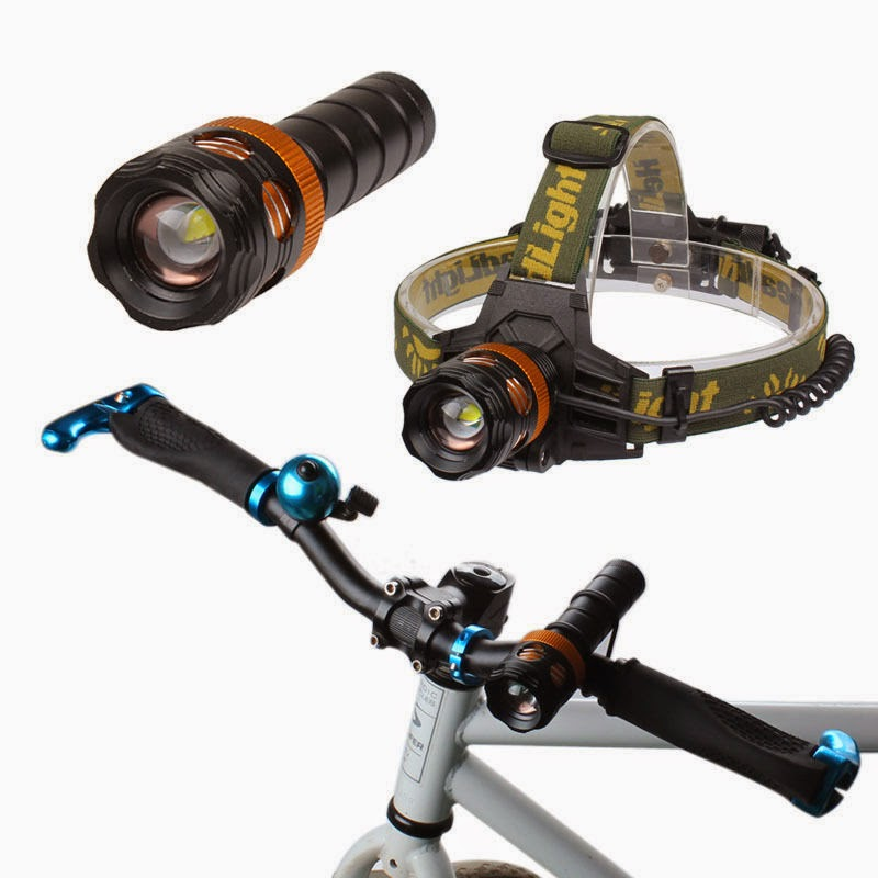 3 in1 2000lm CREE XML T6 LED Zoom Rechargeable Headlamp Flashlight Bicycle Light