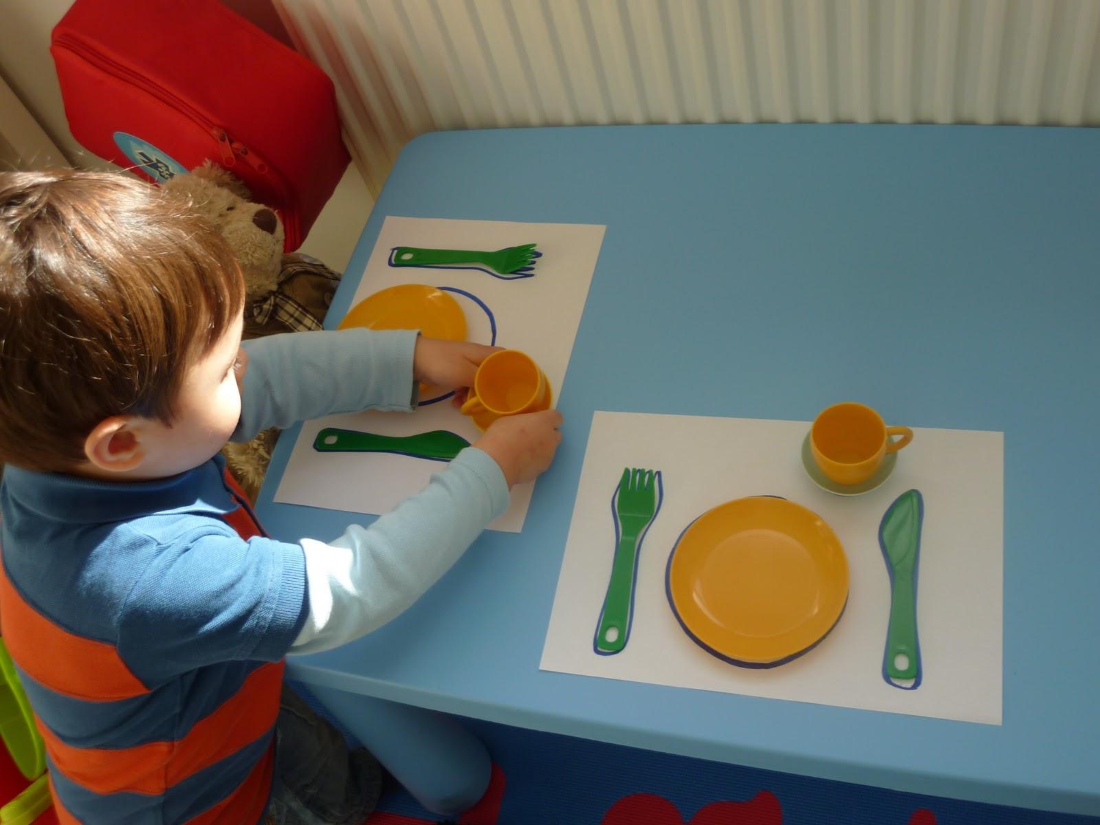 J setting the table for training teddy bear & Family FECS: Montessori Activity: Table-Setting/Borddækning/??? ...