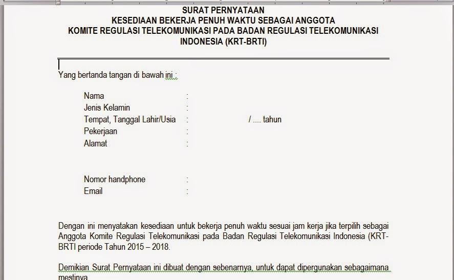 Surat Pernyataan Kesediaan Bekerja Penuh Waktu Pengadaan