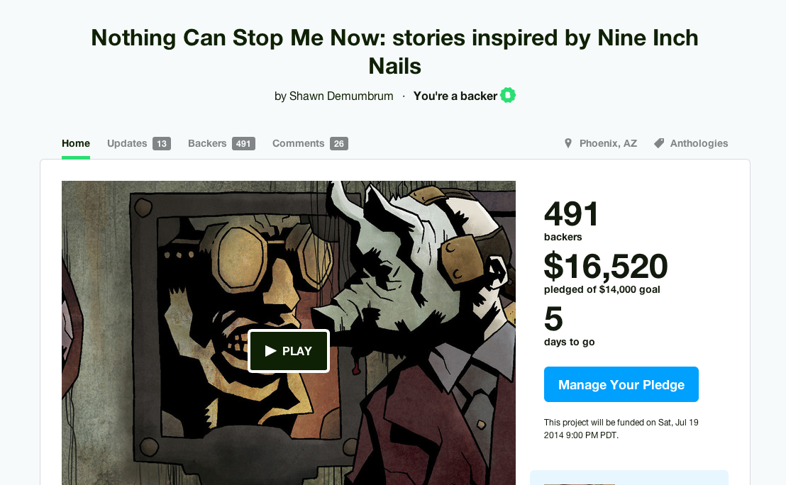 Nothing Can Stop Me Now Kickstarter