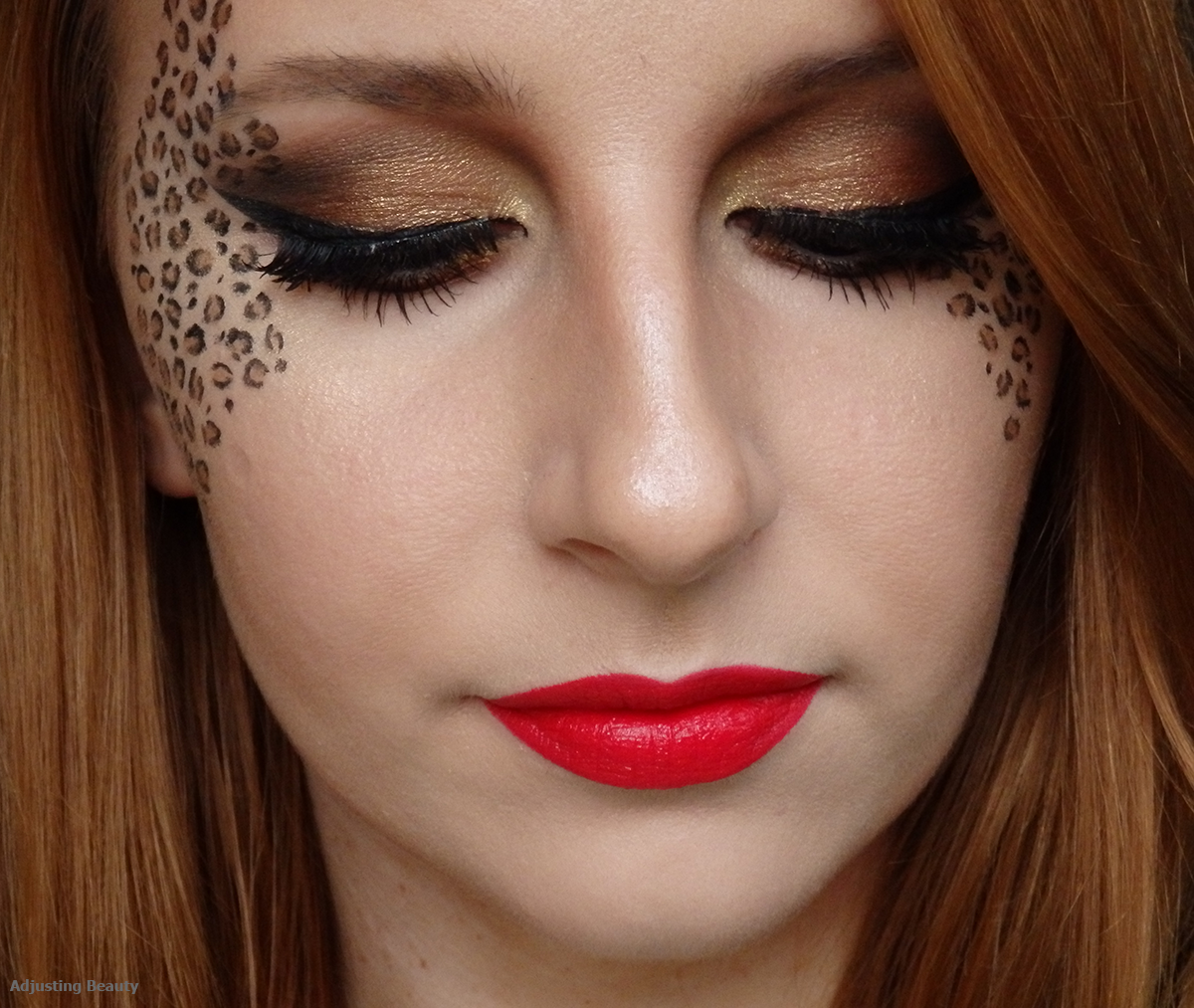 pretty leopard makeup adjusting beauty