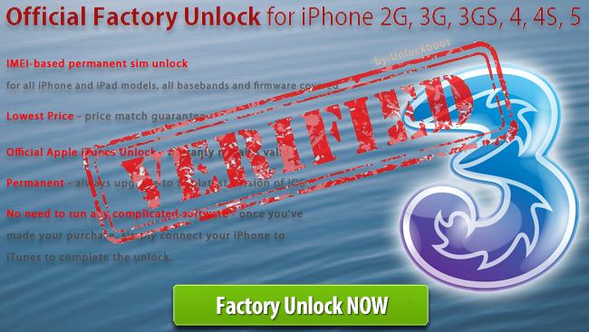 Unlock 3 Hutchison Sweden iPhone