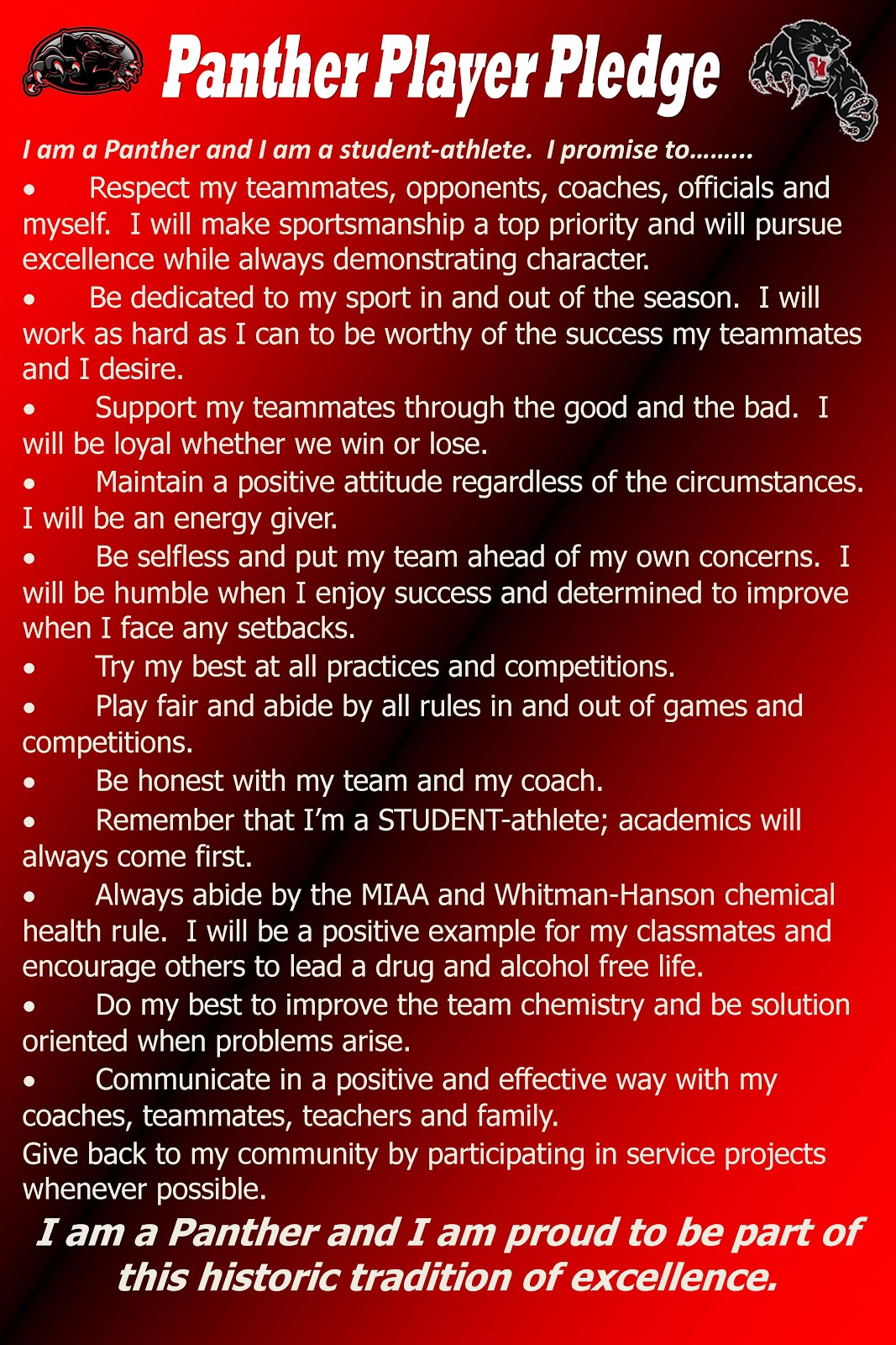 Panther Player Pledge