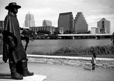 The Stevie Ray Vaughn Memorial Statue in Austin, TX