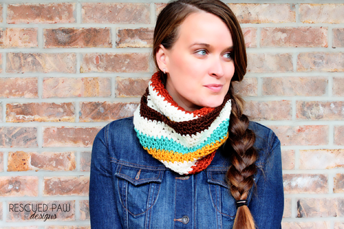 free crochet pattern striped cowl