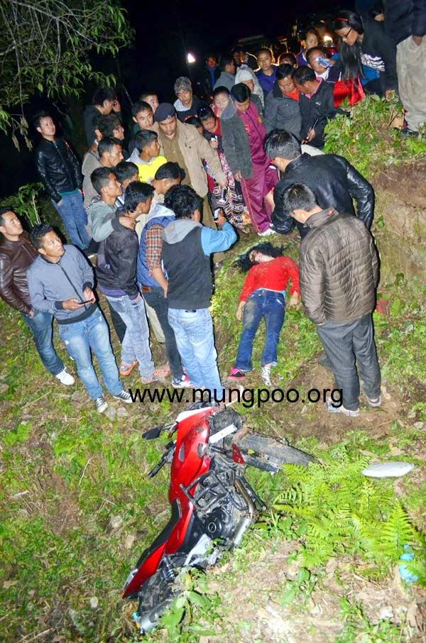 Bike accident in siksin - girl dead