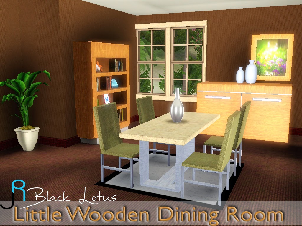 My sims 3 blog little wooden dining set by lory story for Sims 3 dining room ideas